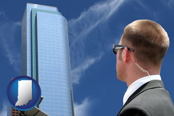 security agent watching a downtown area - with Indiana icon
