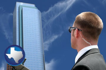 security agent watching a downtown area - with Texas icon