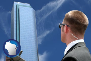 security agent watching a downtown area - with Wisconsin icon
